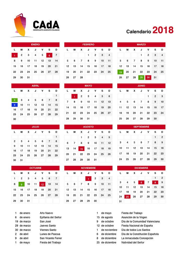 Calendario laboral alaquas 2018